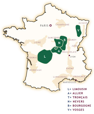 The major oak Forests of France