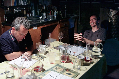 James and Mike grimly discuss the blend